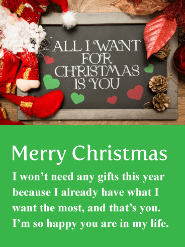 All I Want Is You! Romantic Merry Christmas Card