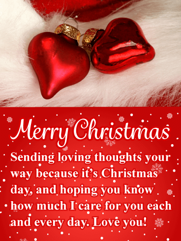 Red Heart Ornaments - Romantic Merry Christmas Card