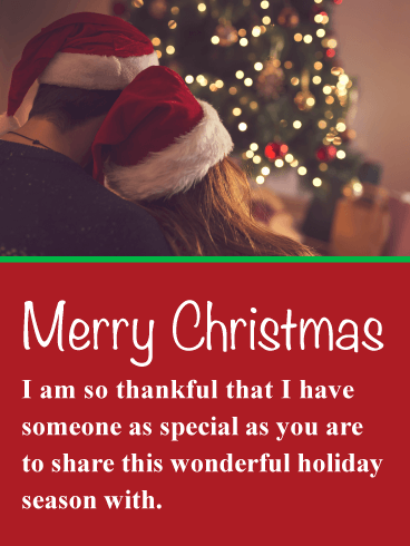 Couple in Santa Hats - Romantic Merry Christmas Card