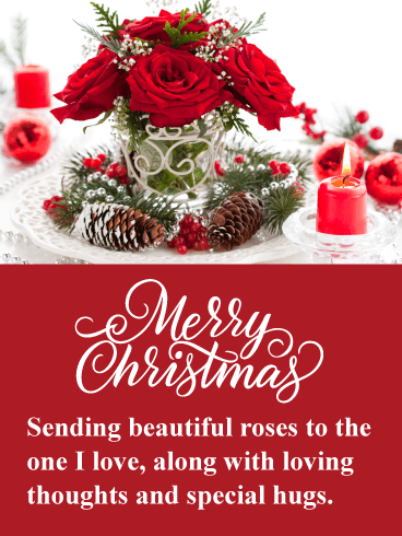 Beautiful Holiday Roses - Romantic Merry Christmas Card
