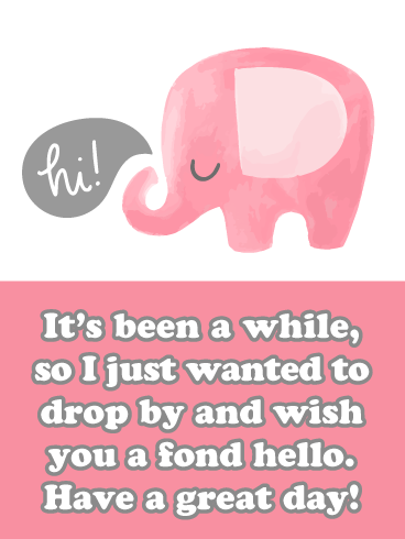 Pink Elephants- Saying Hi Card