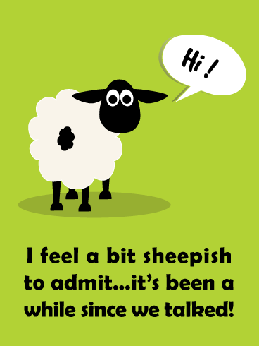Feeling Sheepish- Funny Saying Hi Card