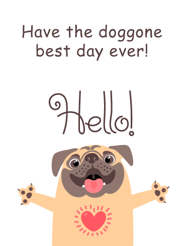 Doggone Best Day- Funny Saying Hi Card