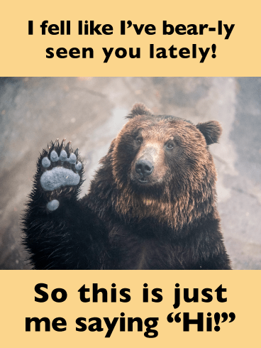 Bear-ly Seen You- Funny Saying Hi Card