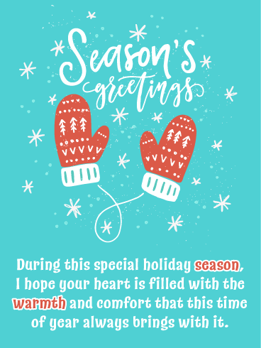 Festive Mittens - Season's Greetings Card