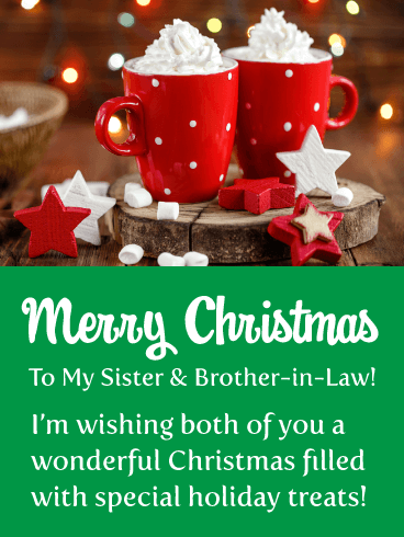 Special Holiday Drinks - Merry Christmas Card for Sister & Brother-in-Law
