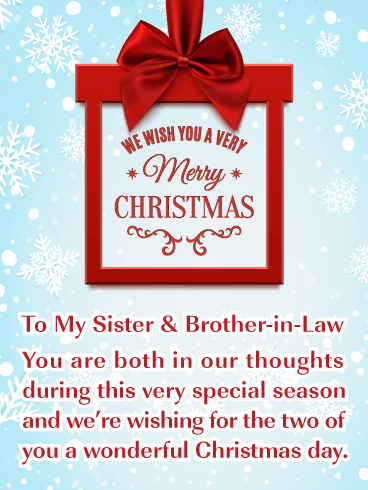 A Special Day Merry Christmas Card For Sister Brother In Law Birthday Greeting Cards By Davia