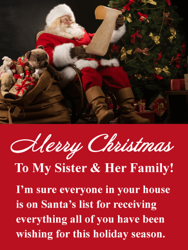 Santa's List - Merry Christmas Card for Sister & Her Family
