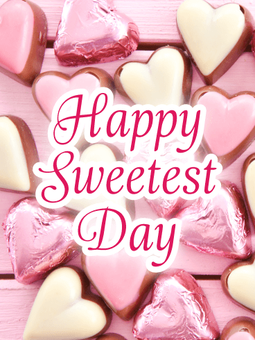 Pink & Gold Candy Hearts – Happy Sweetest Day Cards