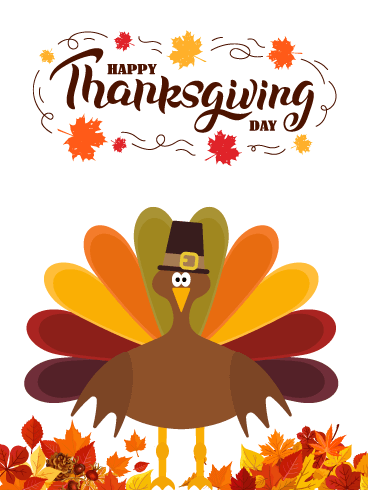 Cute Turkey with Hat - Happy Thanksgiving Card