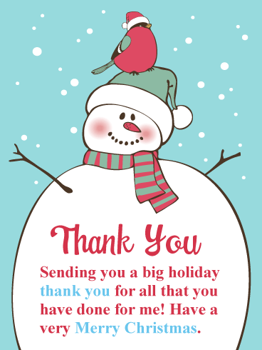 Holiday Snowman - Christmas Thank You Card