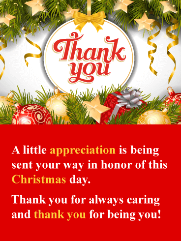 I Appreciate You - Christmas Thank You Card
