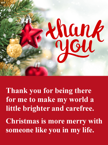Beautiful Tree Ornaments - Christmas Thank You Card