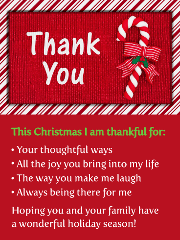 Festive Candy Cane - Christmas Thank You Card