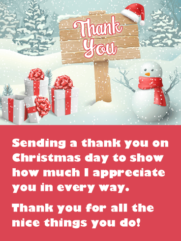 Festive Snowman - Christmas Thank You Card