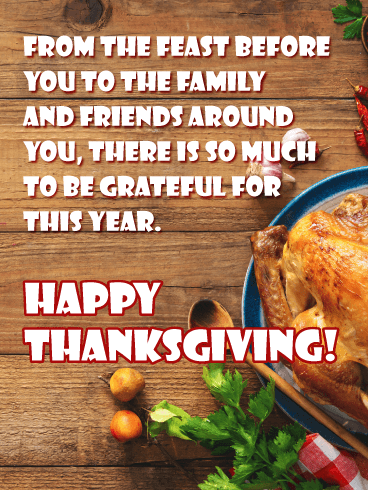 The Feast with Family and Friends - Happy Thanksgiving Day Card