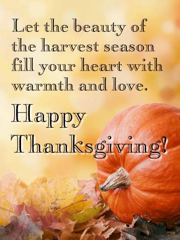 The Beauty of the Harvest Season - Happy Thanksgiving Day Card