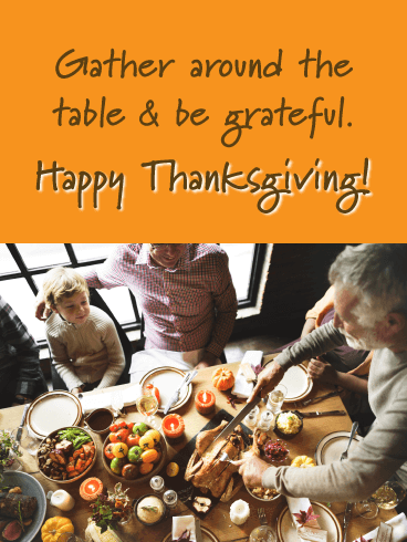 A Family Gathered - Happy Thanksgiving Day Card