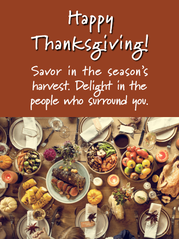 Savor in the Season's Harvest - Happy Thanksgiving Day Card