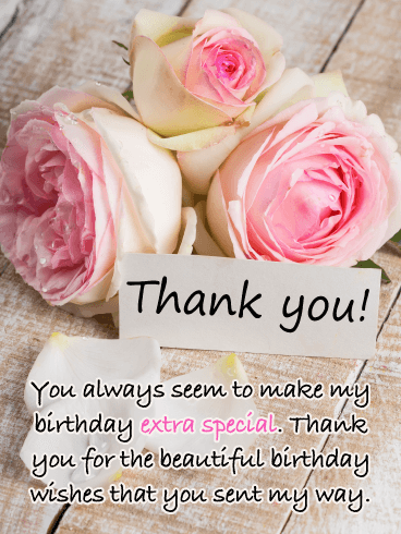 Beautiful Roses – Thank You Card for Birthday Wishes