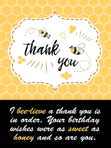 As Sweet As Honey – Thank You Card for Birthday Wishes