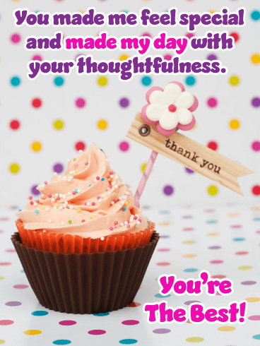 Frosted Cupcake – Thank You Card for Birthday Wishes