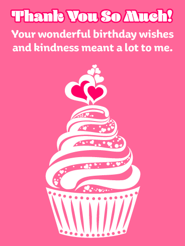 Pretty Pink Cupcake – Thank You Card for Birthday Wishes