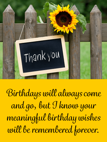 Yellow Sunflower – Thank You Card for Birthday Wishes