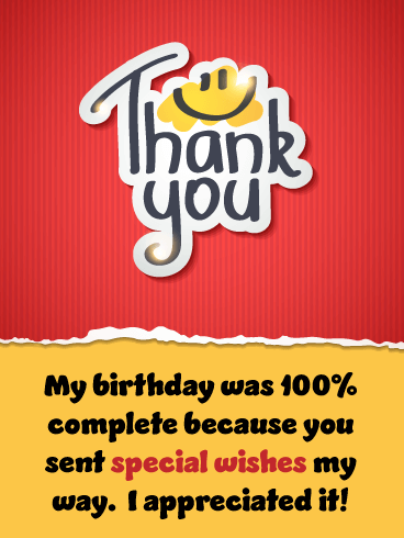 100% Complete – Thank You Card for Birthday Wishes