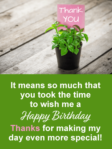 Ornamental Plant- Thank You Card for Birthday Wishes