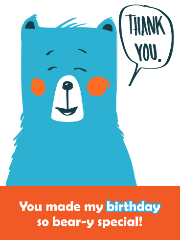 Blue Bear- Thank You Card for Birthday Wishes