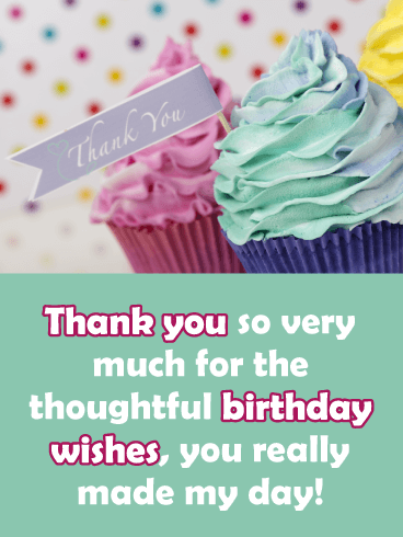 Colorful Cupcakes- Thank You Card for Birthday Wishes
