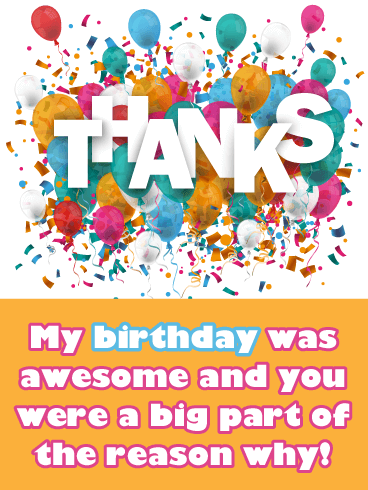 Bursting Balloons- Thank You Card for Birthday Wishes