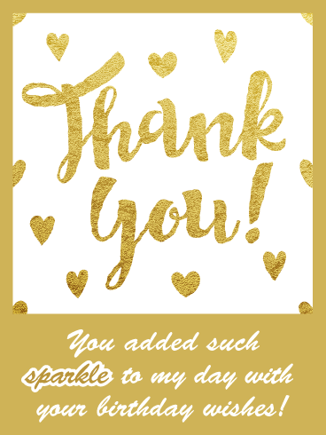 All That Glitters- Thank You Card for Birthday Wishes
