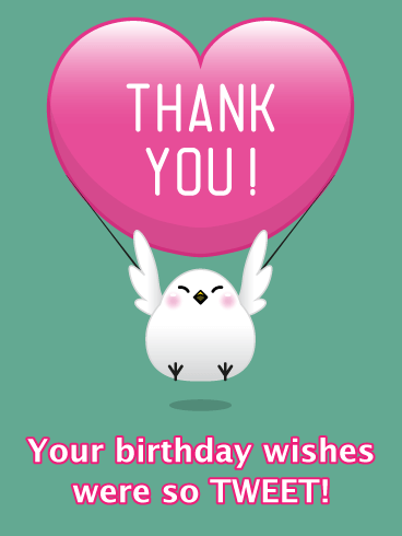 Bird with Heart- Thank You Card for Birthday Wishes