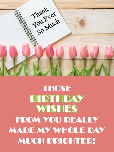 Tulip Border- Thank You Card for Birthday Wishes