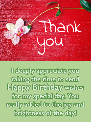 Sweet Flower- Thank You Card for Birthday Wishes