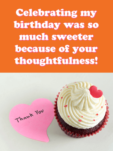 So Much Sweeter - Thank You Card for Birthday Wishes