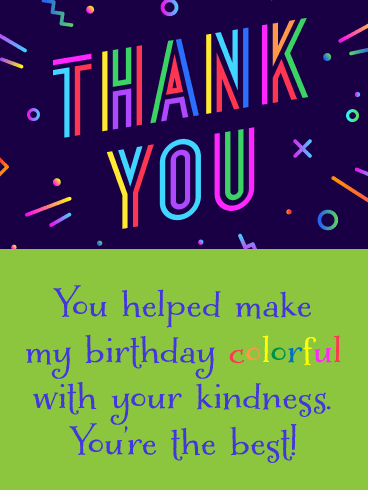 You're the Best! - Thank You Card for Birthday Wishes