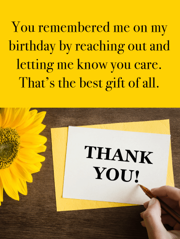 The Best Gift of All - Thank You Card for Birthday Wishes