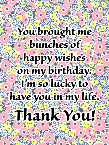 I'm So Lucky to Have You - Thank You Card for Birthday Wishes