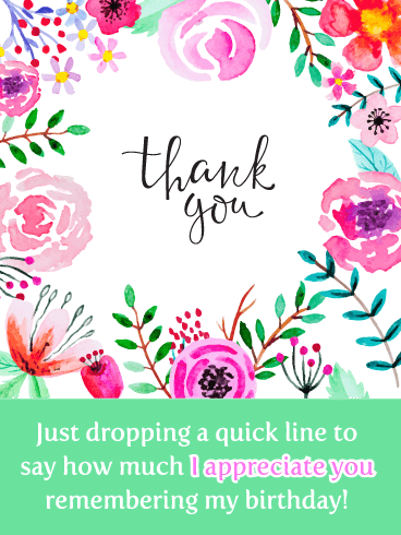Floral Notes- Thank You for the Birthday Wishes Card