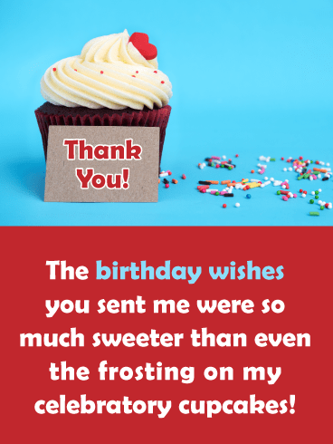 Sweeter Than Frosting- Thank You for the Birthday Wishes Card
