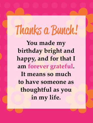 Colorful Floral Background- Thank You Cards for Birthday Wishes