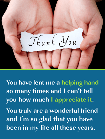 Helping Hands – Thank You Card for Friend