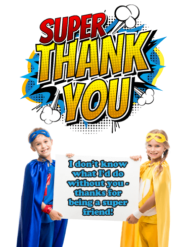 Super Friends - Thank You Card for Friend