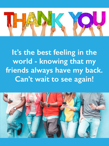 Friends Have Each Other's Backs- Thank You Card for Friend