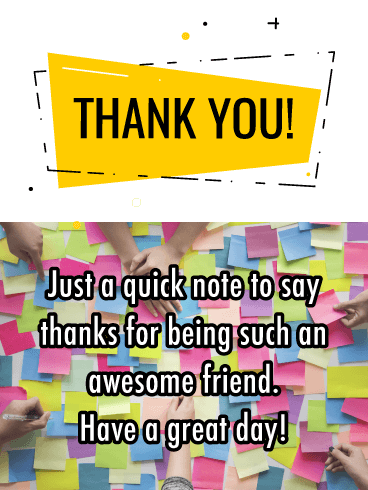 A Quick Note- Thank You Card for Friend