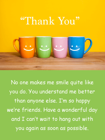 Smiley Mugs - Thank You Card for Friend