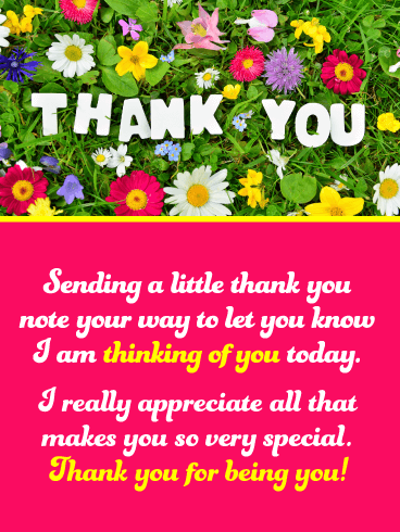 Colorful Flowers - Thank You Card